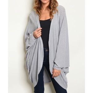 Gray open front ribbed cardigan sweater